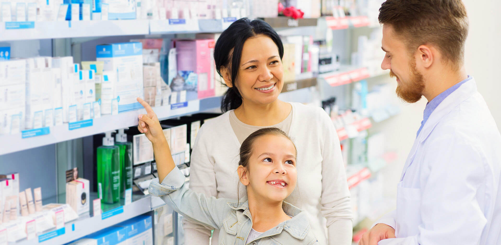 pharmacist and customers in pharmacy